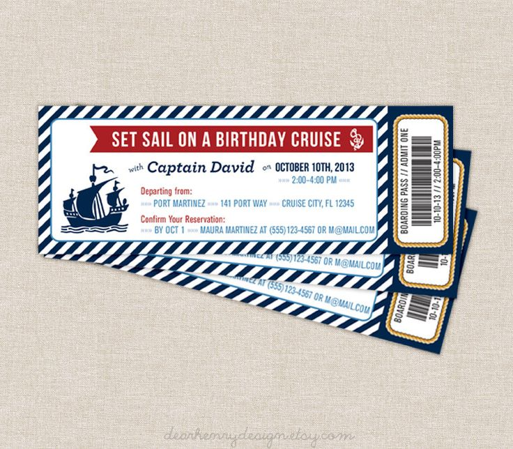 Nautical Boarding Pass Invitation, Nautical Cruise Ticket, Nautical Birthday Party, PRINTABLE INVITE, Printing Available, Boy Birthday Girl by DearHenryDesign on Etsy https://www.etsy.com/listing/163181022/nautical-boarding-pass-invitation