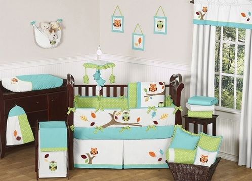 Turquoise and Lime Hooty Owl Baby Bedding