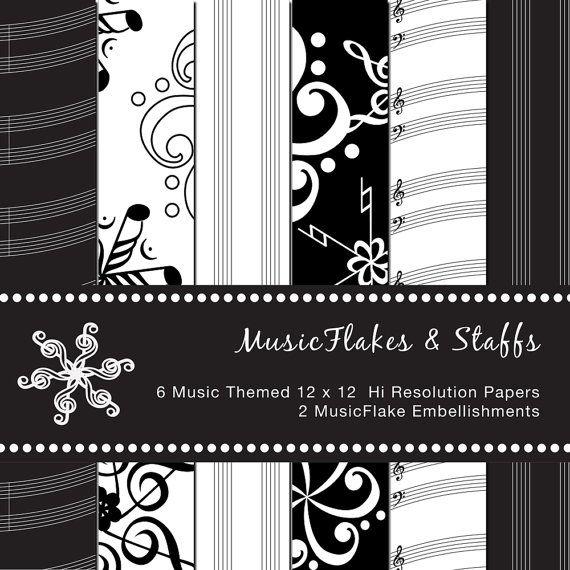 MusicFlakes & Staff Digital Scrapbook Paper by GreetingsFromLisa