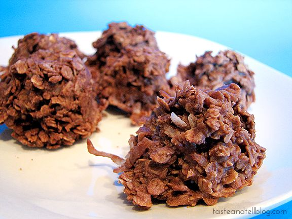 No Bake Cookies - I've been eating these since childhood (I'm a senior), and they remain one of my all-time favorites!  I also add nuts to the recipe.