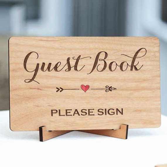 Rustic Sign and Mini Easel, Wedding Guest Book Sign, Laser Cut and Etched on Wood - Custom Word Sign
