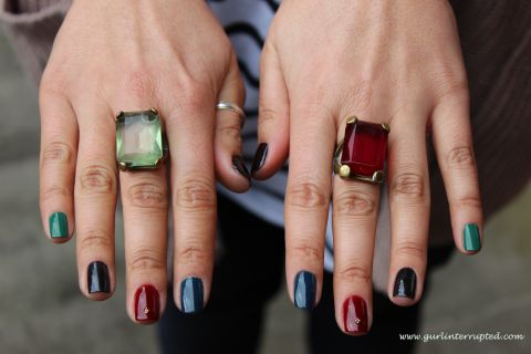 Check out this Bejewelled, Jewel Tones Manicure