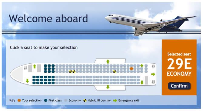 Seat selection airline