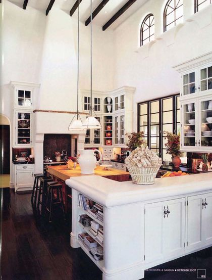 Love this kitchen - exposed beams, high ceilings, white and airy, shall I go on?