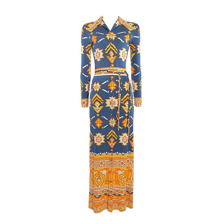 1970's Leonard Paris Navy and Orange Aztec Print Dress - Size S | From a collection of rare vintage evening dresses at https://www.1stdibs.com/fashion/clothing/evening-dresses/