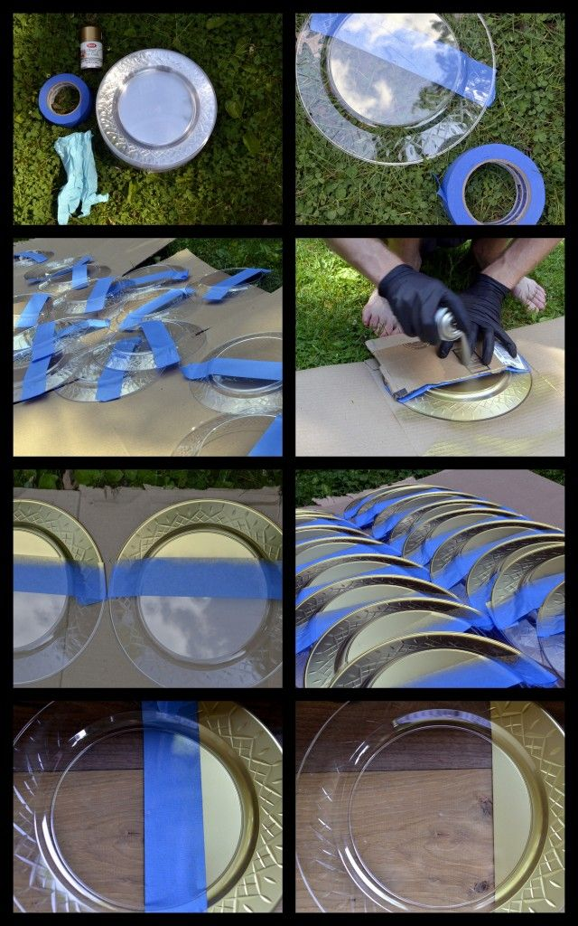 DIY Gilded Disposable Plastic Plates