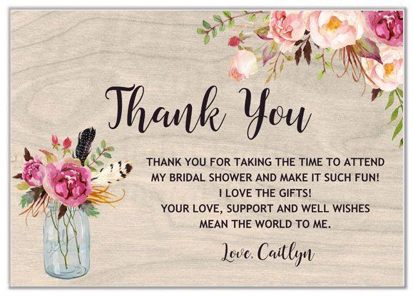 Rustic Mason Jar Bridal Shower Thank You Cards Mason Jar Bridal