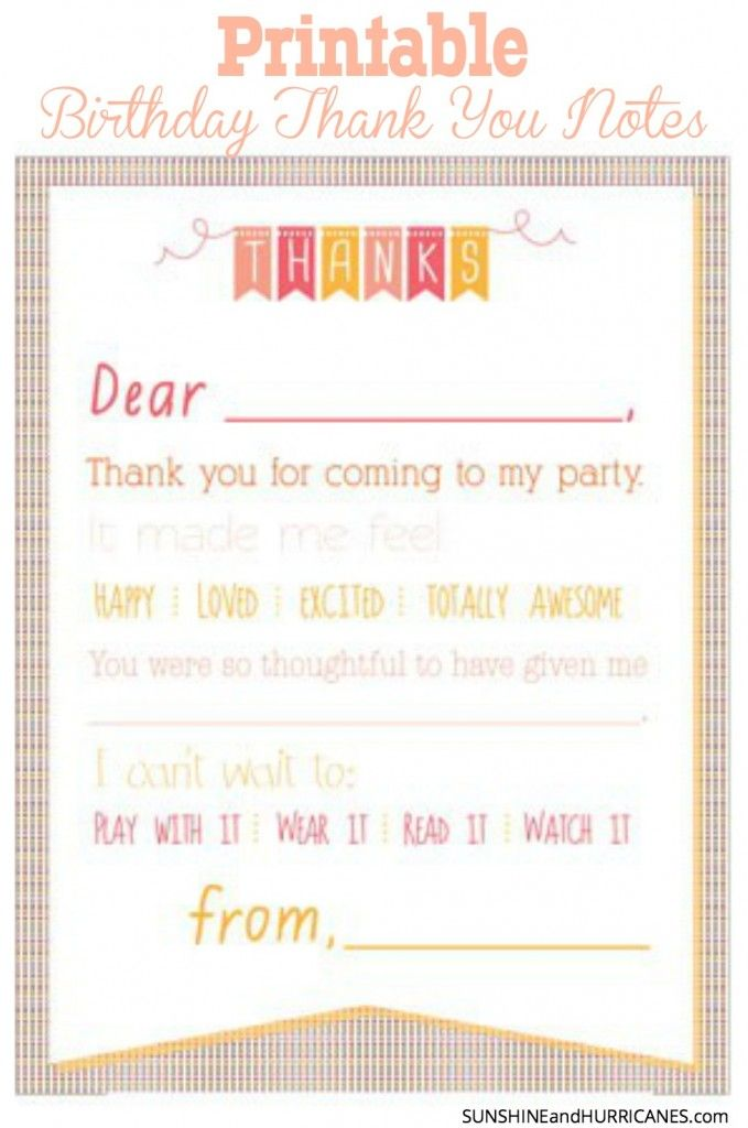Make sending thank you notes after a child's birthday party fun and easy. FREE Printable Birthday Thank You Notes in both a girl and boy version. SunshineandHurricanes.com