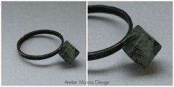 Ring, geoxideerd zilver en toermalijnkwarts