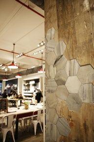 Cool honeycomb design on wall. #Bienen www.apidaecandles.de