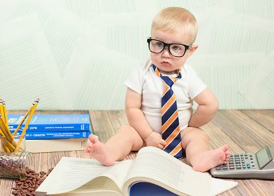 Little boy photo shoot, 6 months old, accounting themed photoshoot, little accountant