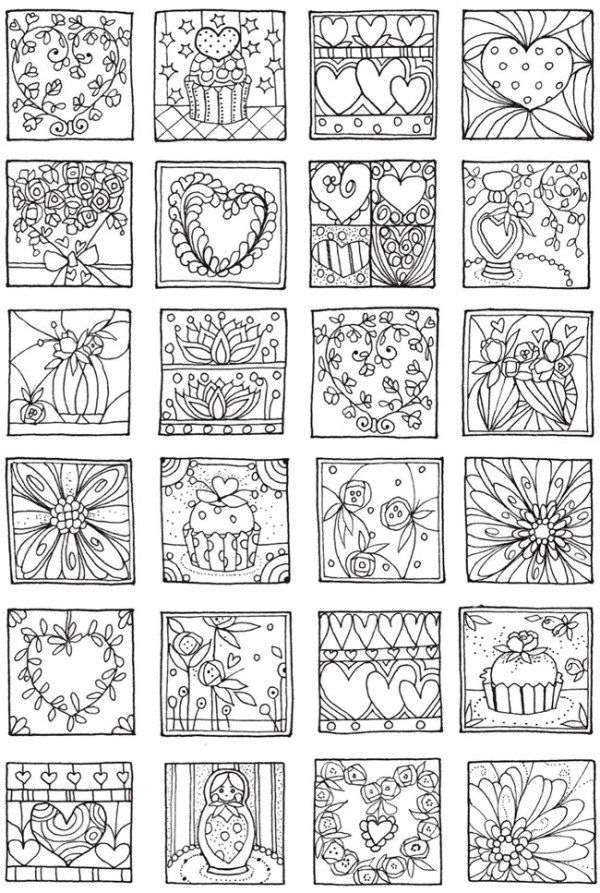 Freebie: Hearts Coloring Page