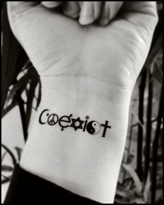 temporary tattoos coexist fake tattoo world by SharonHArtDesigns