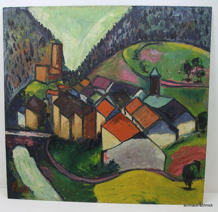 Fritz Langendorf Offenburg 1903-1999 Ölgemälde Stadt Kubismus Schwarzwald? 1963