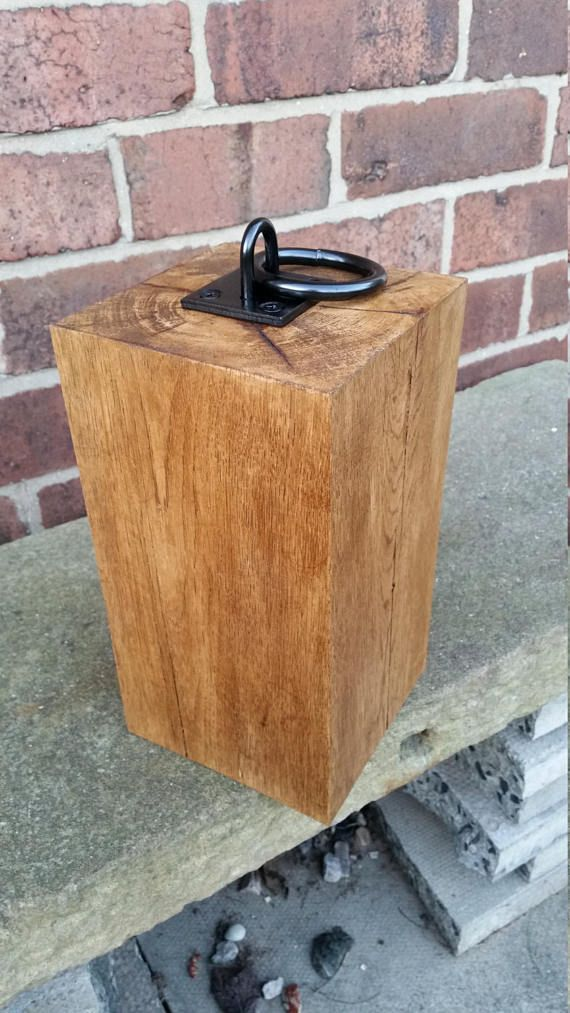 Beautiful rustic door stop  chunky oak with iron ring