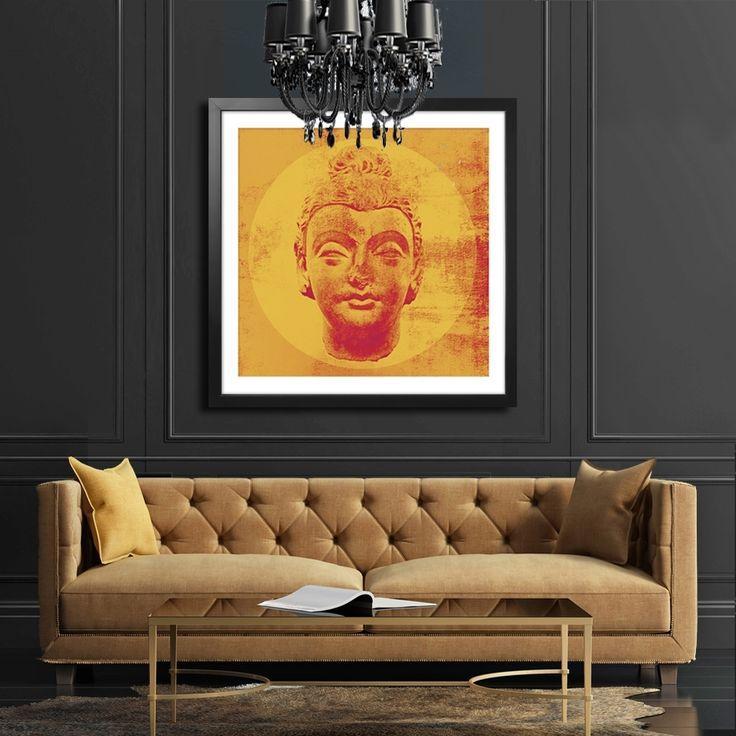 ORANGE BUDDHA MIXGALLERY portrait,face,budda,wallart,canvas,canvas print,home decor, wall,framed prints,framed canvas,artwork,art