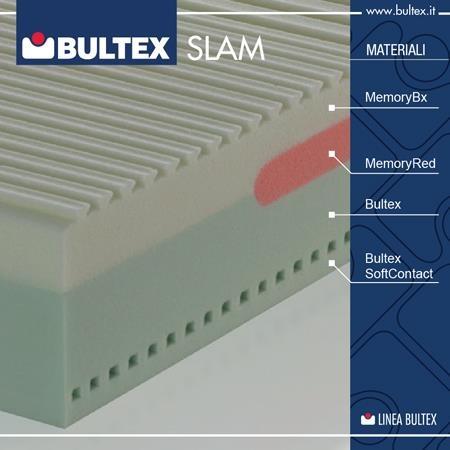 Il segreto di Slam? La sua struttura interna è estremamente sofisticata, poiché si compone di ben 4 tipi di materiali Bultex differenti, per un mix assolutamente unico di accoglienza, elasticità ed ergonomia... Provare per credere!