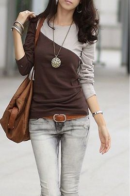 Colour block shirt and casual jeans.