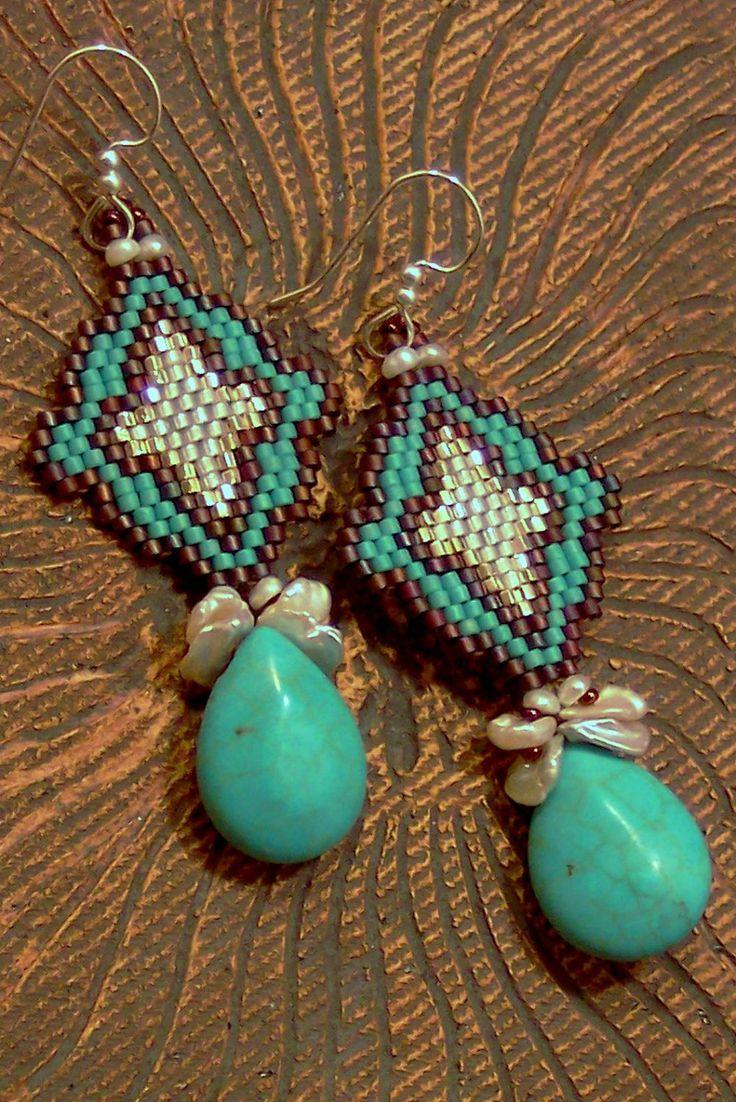 Turquoise Earrings, Western Style Earrings, Keshi Pearl Earrings, Native  American Style Seed Bead Earrings, Old West Arabesque Earrings