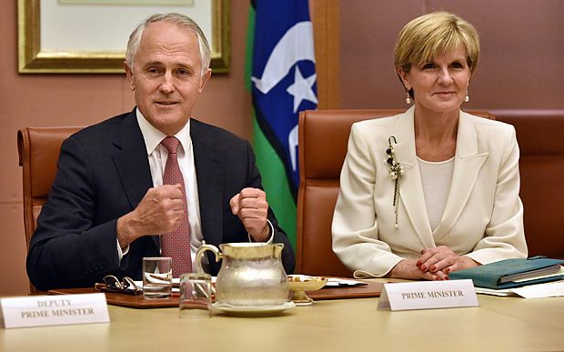 """On September 21st, 2015, Prime Minister Of Australia Malcolm (left) was at a cabinet meeting with Julie Bishop the minister of foreign affairs. They are discussing what will happen after the Queen's reign ends.  """"The republic issues cannot belong to a politician, it's got to be a genuine popular movement,"""" said Malcolm."""