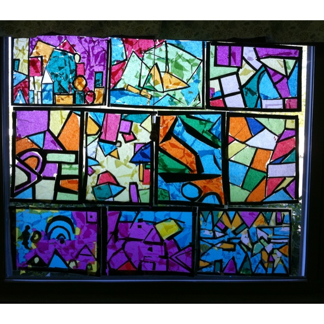 Fun and easy stained glass windows i had my students use for Stained glass window craft with tissue paper