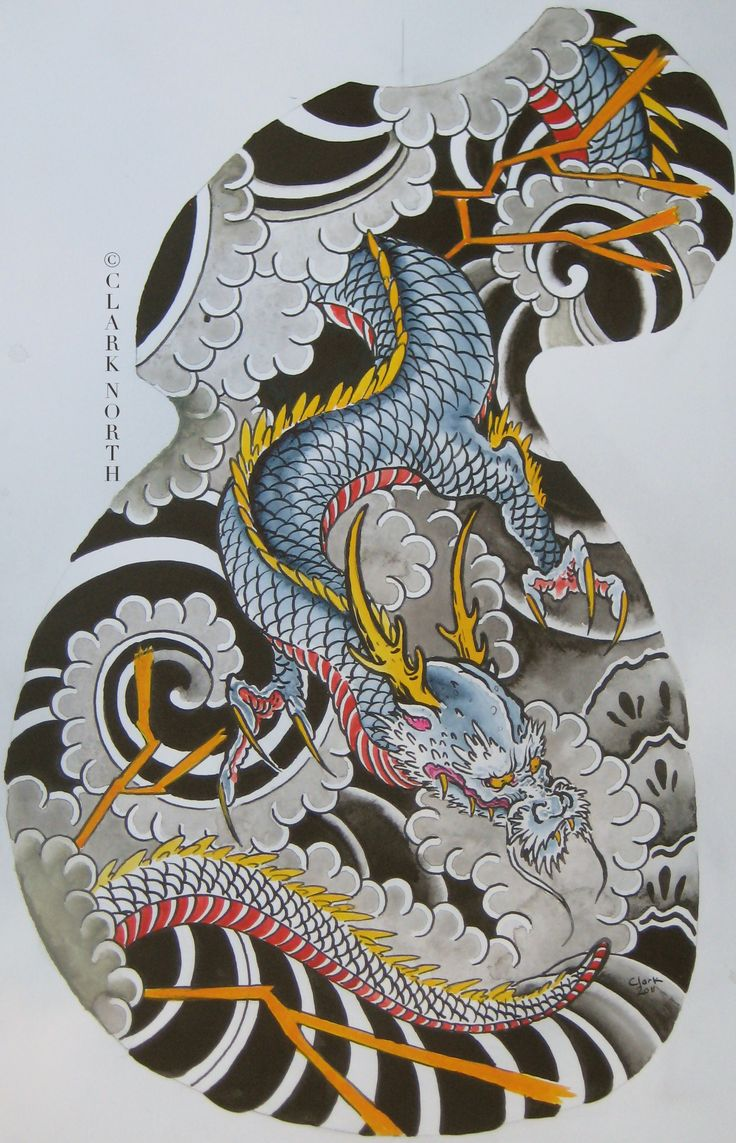 Japanese dragon half sleeve by Clark North