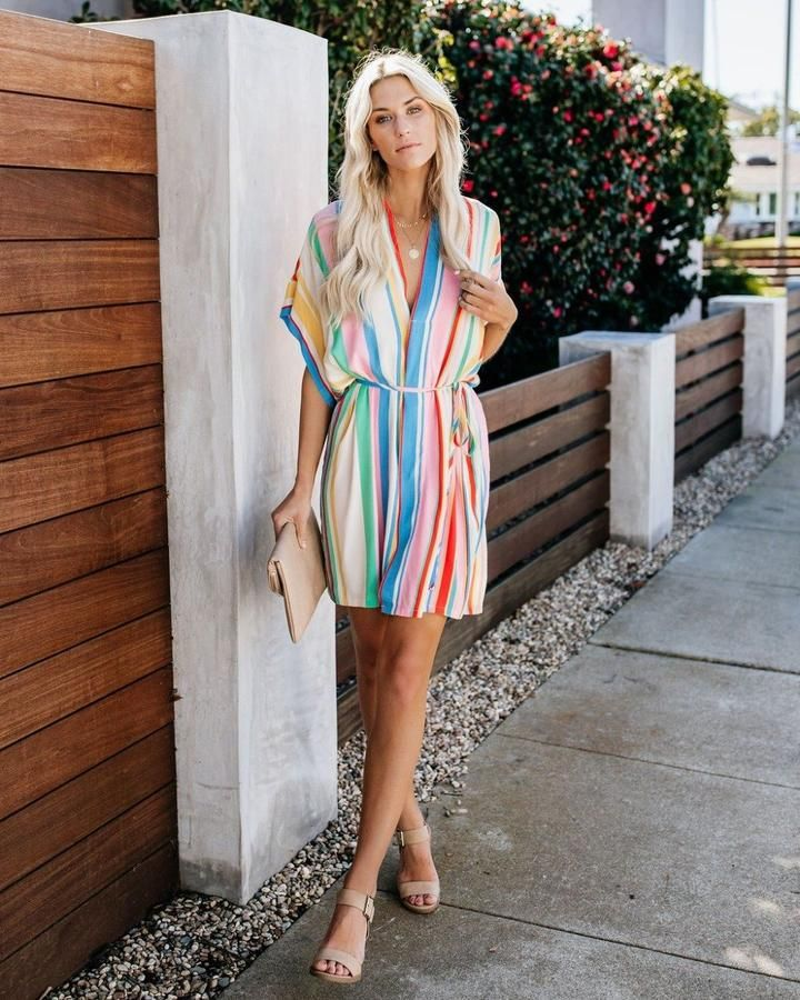 Women/'s Flare Sleeves Rainbow Stripe Print Casual Loose Summer Irregular Dress