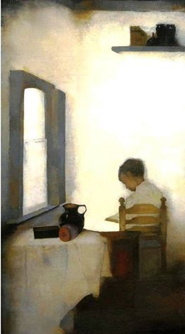 Jan Mankes - Interior with reading boy, 1911.