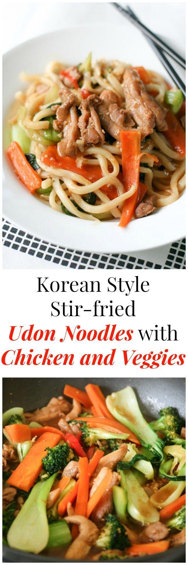 Korean Style Stir-fried Udon Noodles with Chicken and Veggies | MyKoreanKitchen.com