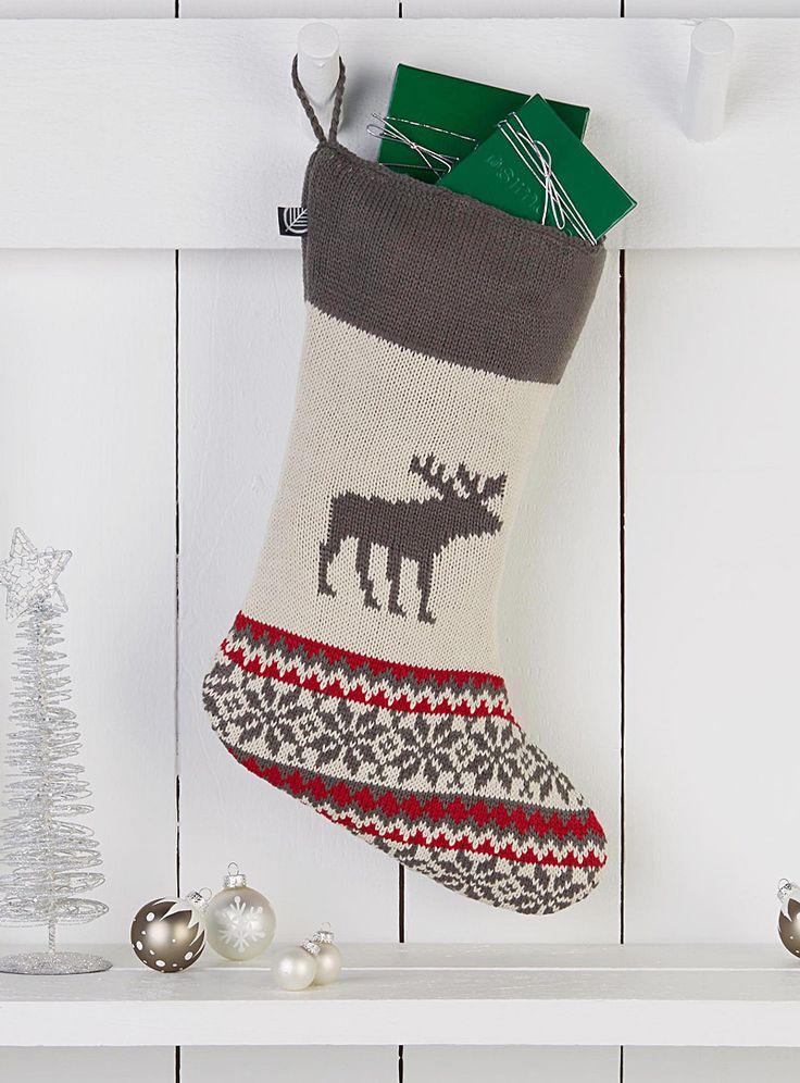 Moose jacquard Christmas stocking | Simons #maisonsimons #decor #christmas #holidays #inspiration #moose #stockings