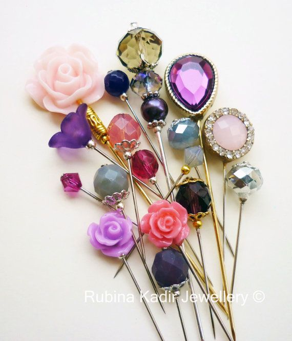 18 Purple Pink Grey and Silver Hijab Pin Mix / Hat by RubinaKadir, £12.50