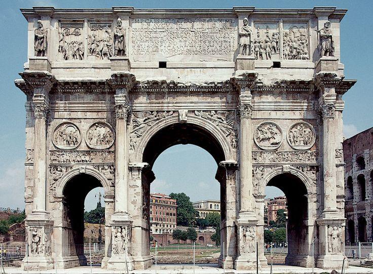 ŁUK KONSTANTYNA  Łuk triumfalny stojący między Colosseum a wzgórzem Palatynu, zbudowany w 312 AD dla upamiętnienia zwycięstwa Konstantyna nad Maksencjuszem w bitwie przy moście Mulwijskim. Największy z rzymskich łuków triumfalnych, wybudowany w znacznej części z elementów starszych budowli antycznych, tzw. spolia.