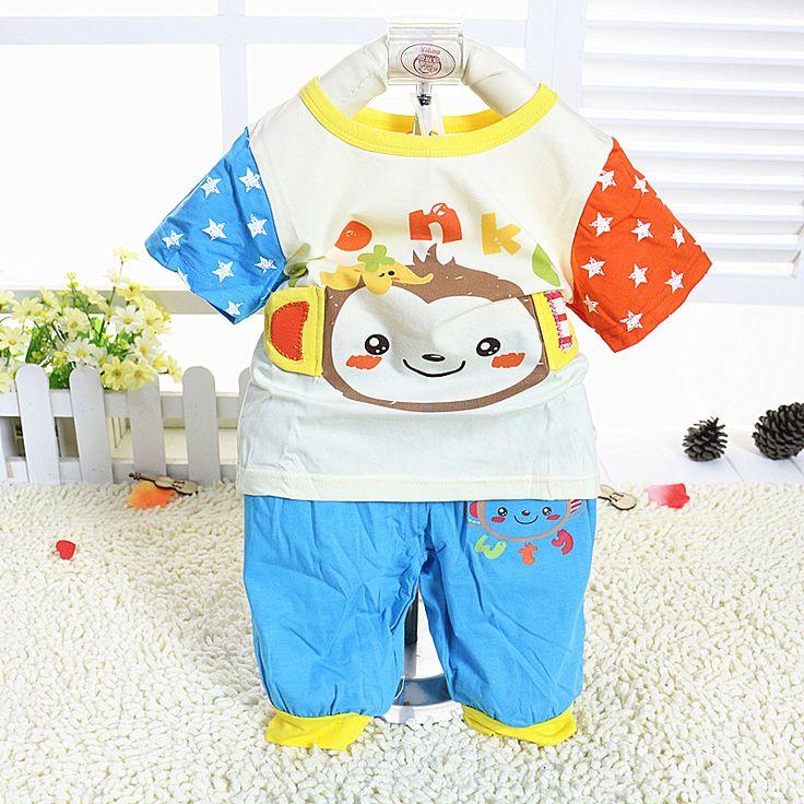 Новорожденный 2016 малыш мальчик и Девочка одежда устанавливает летние 2-х частей костюмы печати футболка и брюки Дети Дешевая Одежда