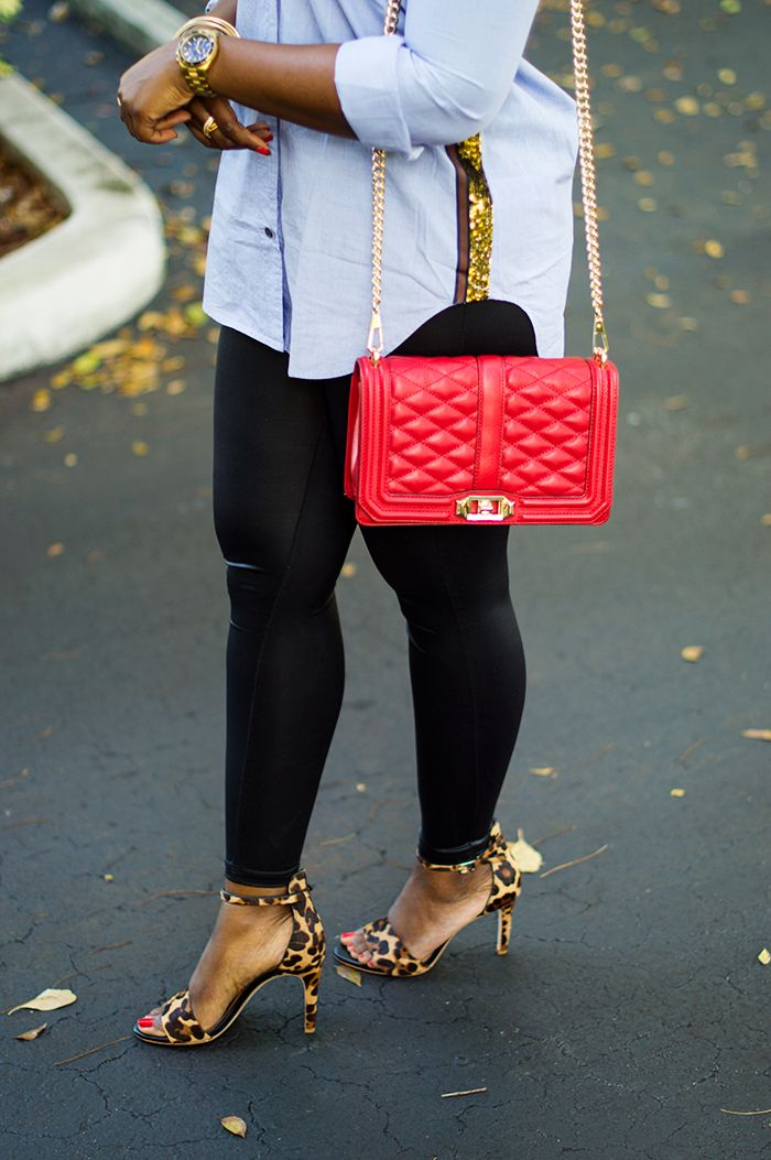 jcrew sequin stripe shirt and faux leather leggings with leopard sandals and rebecca minkoff red love crossbody 5