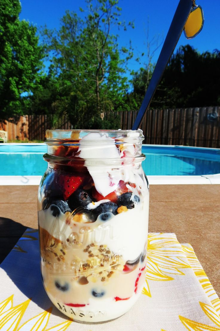 Breakfast Jar Parfait. SSSSOOOOO good! I used almond butter and added a little honey on top of that. Super filling!