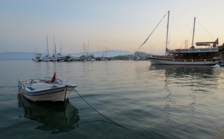 Akylarlar Harbour at dusk with Kos in the background.