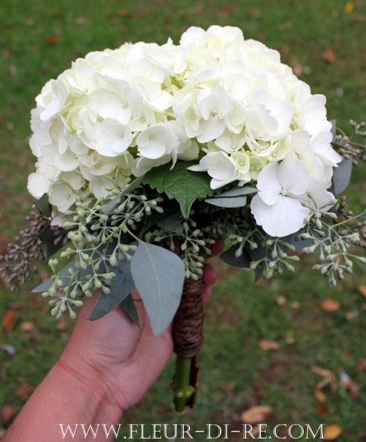 White Hydrangea Bouquet-love the seeded eucalyptus