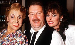 Gorden Kaye with his 'Allo 'Allo wife Edith played by Carmen Silvera (L) and mistress Yvette, Vicki Michelle.