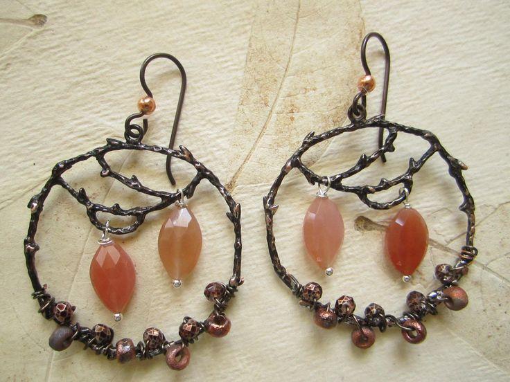Sale, Peach Moonstone Rustic Hoop Earrings, Branch look hoops, Marquise…