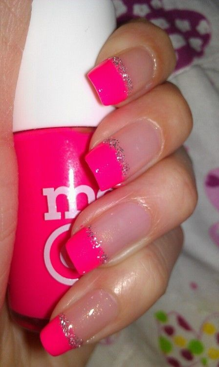 pink french nails - Id do this with a thin black line instead of the glitter http://nail-designs.us
