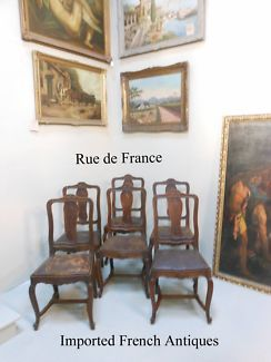 6 ANTIQUE FRENCH - ART NOUVEAU LEATHER SEAT DINING CHAIRS