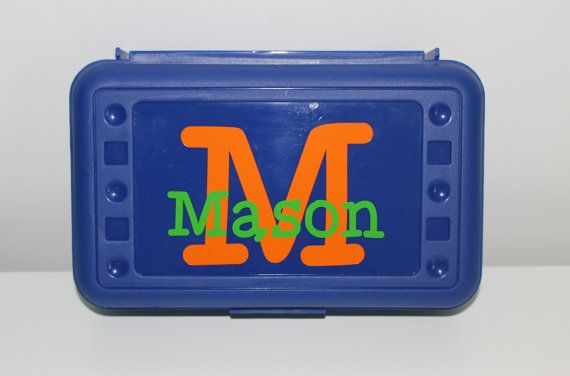 Personalized Plastic Kids Pencil Box Craft Box by AlfonsoDesigns