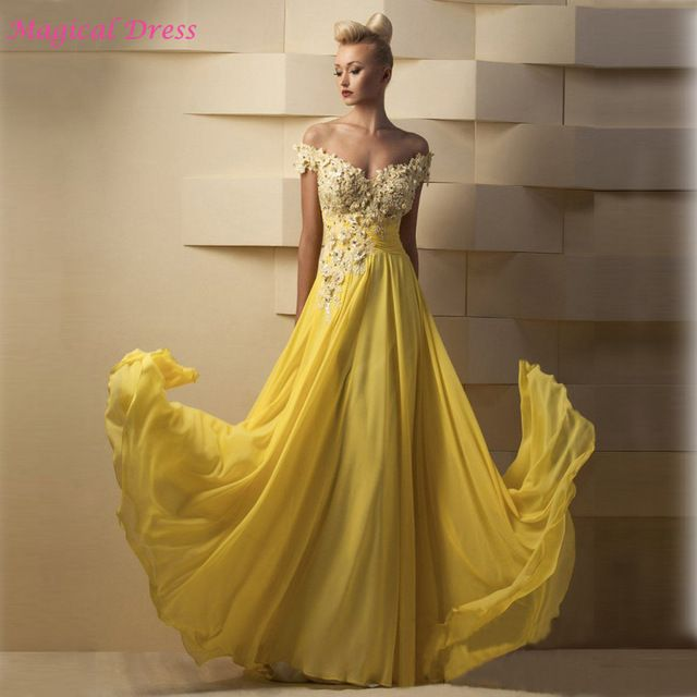 Sexy Yellow Arabic Style Evening Dresses 2017 Lace Off the Shoulder Women Long Prom Special Occasion Dress Chiffon L266