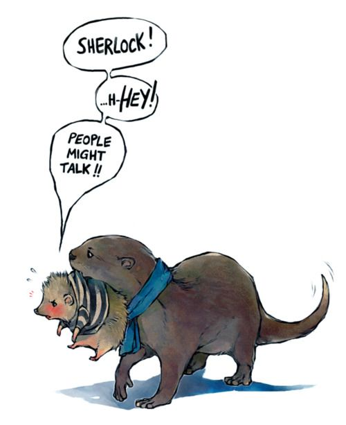 Don't know where this whole otter and hedgehog thing started...but it amuses me, and this is adorable.