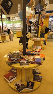 An arty bookish display at a Romanian publishing house's stand.