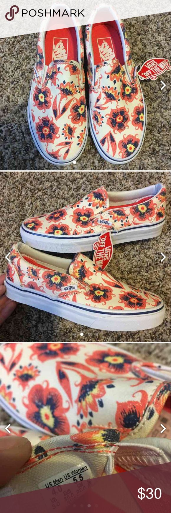 New in box Vans slip on Coral floral low tops Never worn! Comes with original box! Great condition! Please use offer button to make any reasonable offers. Vans Shoes
