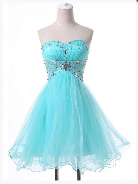 Cute Light Blue Short Sweetheart Homecoming Dresses with Beadings, Short Prom Dresses, Homecoming Dresses 2016