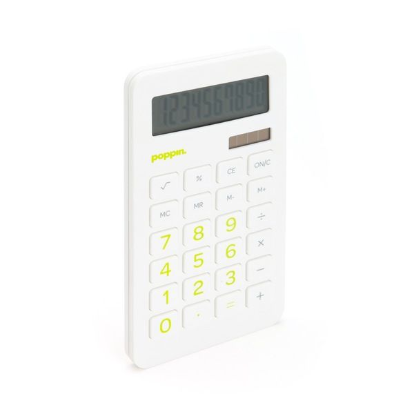 Wonderful Poppin White Eco Calculator With Lime Green Numbers | Desk Accessories |  Cool Office Supplies