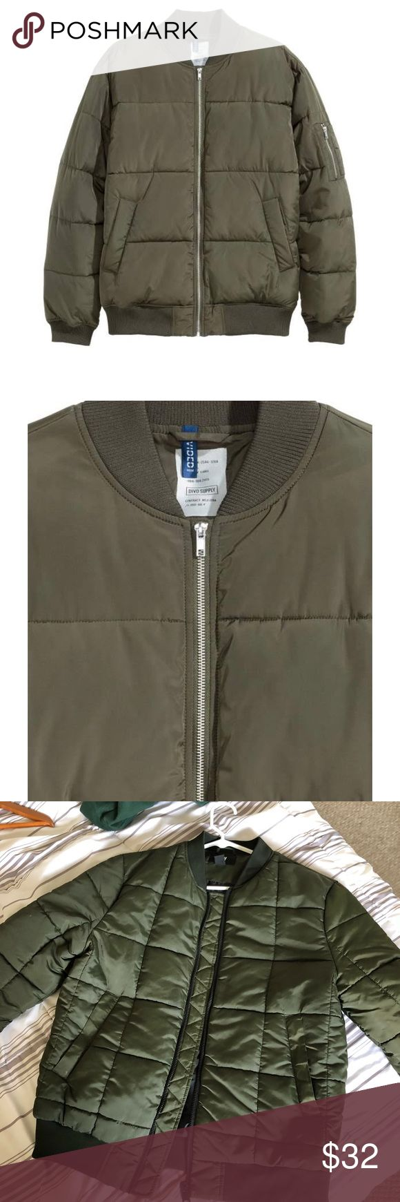 H&M Quilted Green Bomber Jacket (NWOT) •quilted green