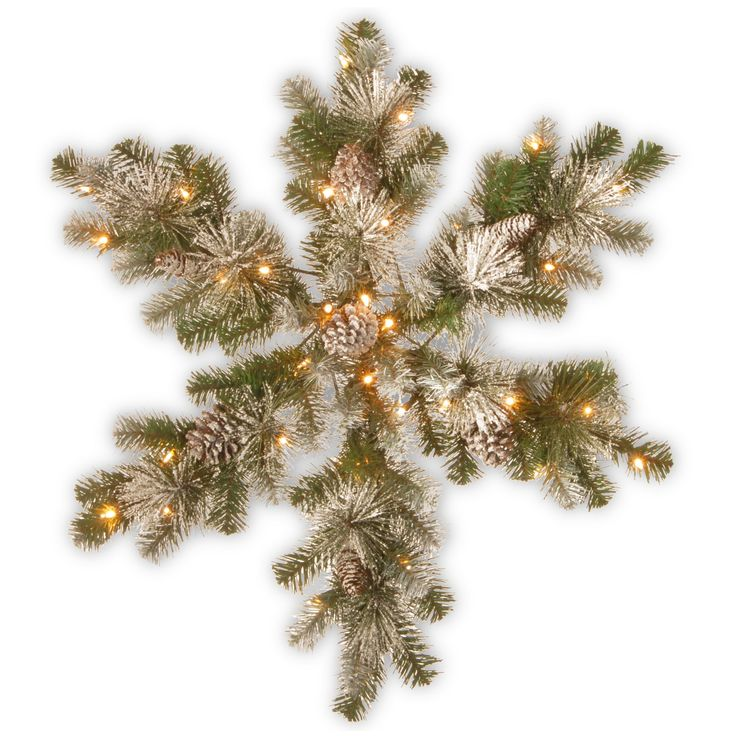 32 Snow Capped Mountain Pine Snowflake with Battery Operated Led Lights - National Tree Company, New Snow